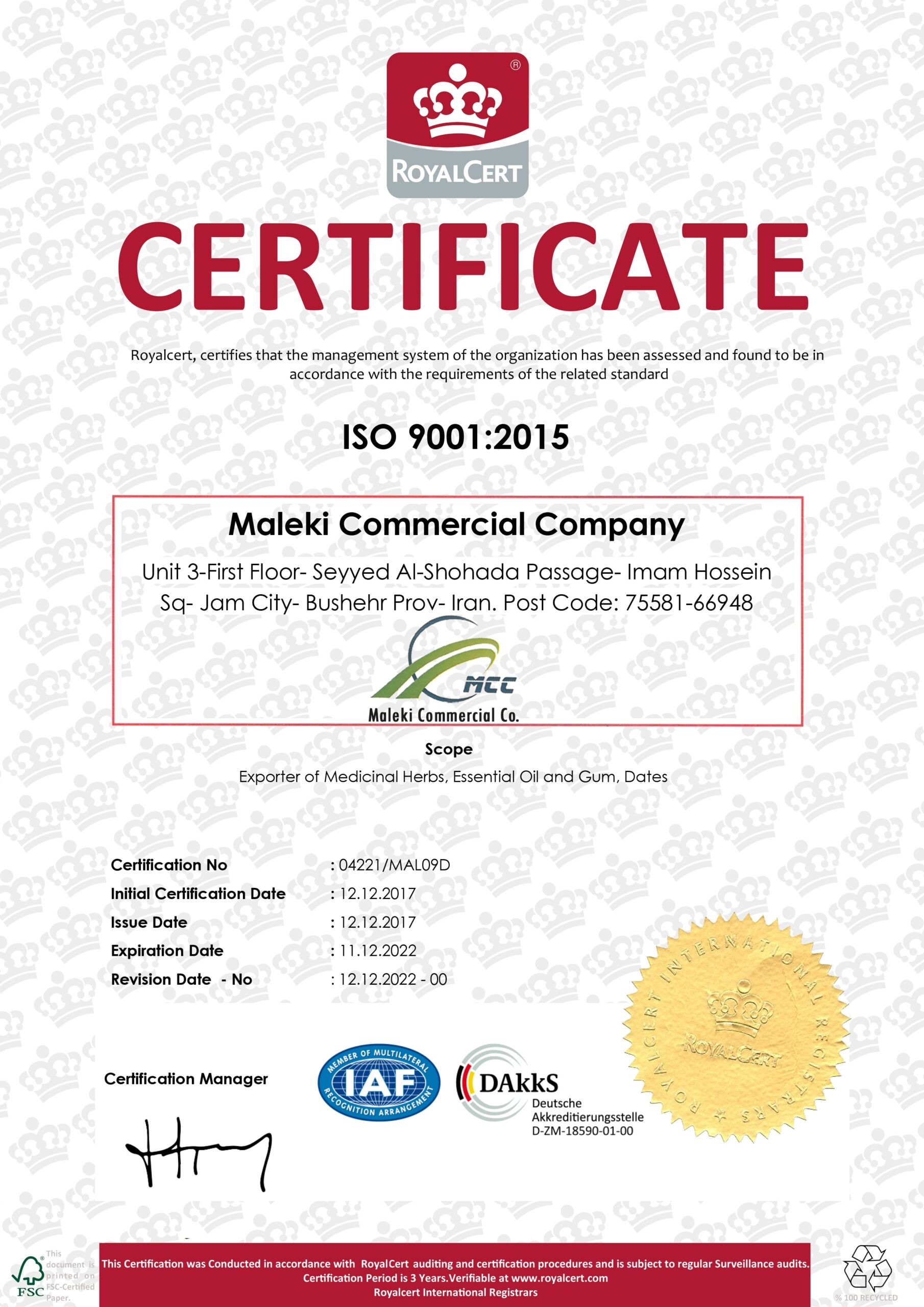 ISO 9001 Certificate Export of Herb essential oil - Maleki Commercial Co.