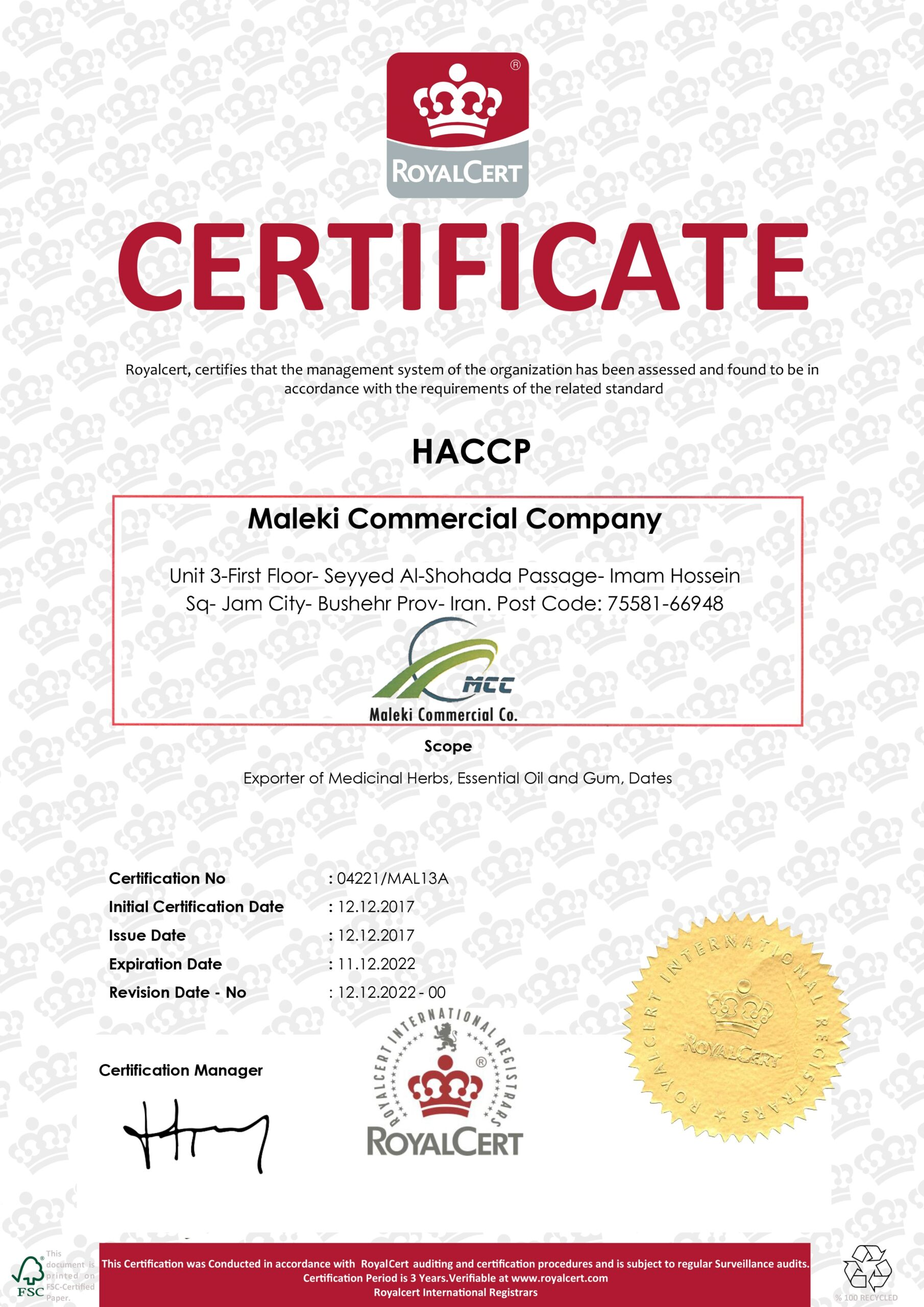 HACCP Certificate Export of Herb essential oil - Maleki Commercial Co.